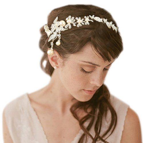 Amazon.com: JoinMe Women's Crystal Orchid Flower Simulated Pearl Dangle Bridal Ribbon Tie Headband Ivory Color: Clothing