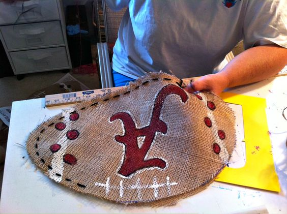 How to Make Burlap Bag | made 3 Alabama footballs and 1 LSU football (for my MOM because I ...