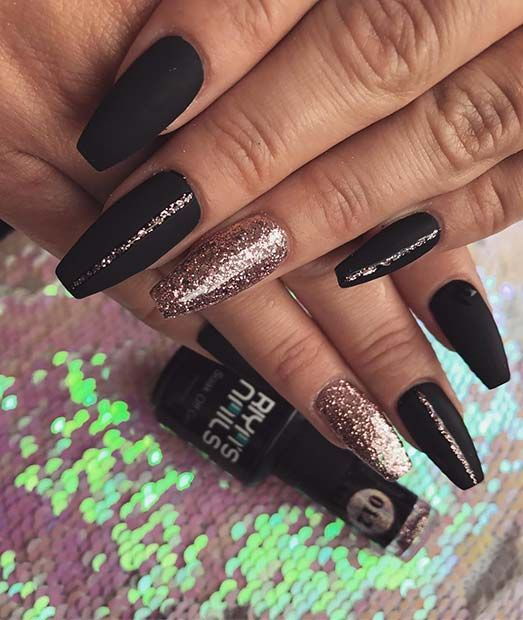 43 Beautiful Nail Art Designs For Coffin Nails Stayglam Gold Nail Designs Black Acrylic Nails Black Nail Designs