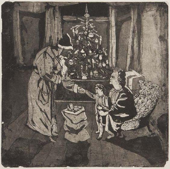 """Weihnachten bei der Familie Körnig. Hans Körnig, """"Ein Weihnachtsabend auch: am Weihnachtsabend"""", Radierung (Zinkätzung), Aquatinta, 1955"""