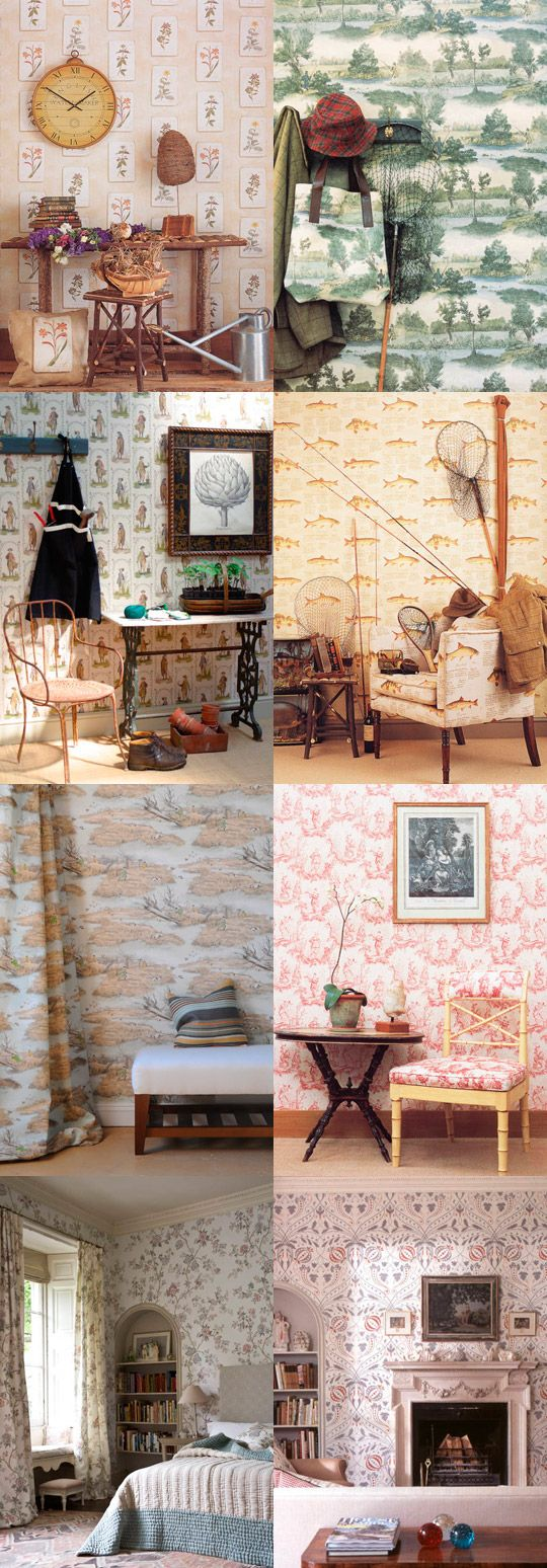 Fish Wall Paper ... Can't explain it, but I really love it.  {The chair pattern matches.}