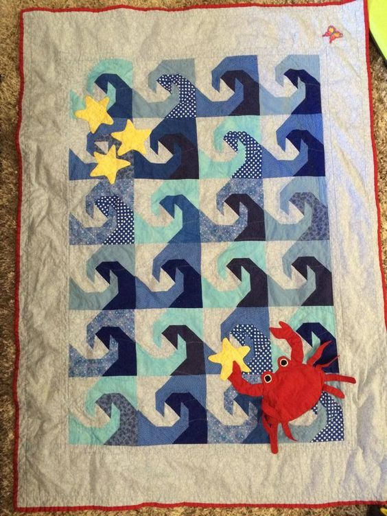 Another view of my ocean- themed baby quilt for our lil' Hawaiian baby ~ by Terri Reveles: