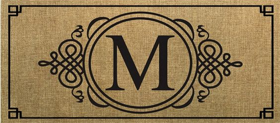 Evergreen Sassafras Switch Mat  Burlap Monogram M 431021M NEW