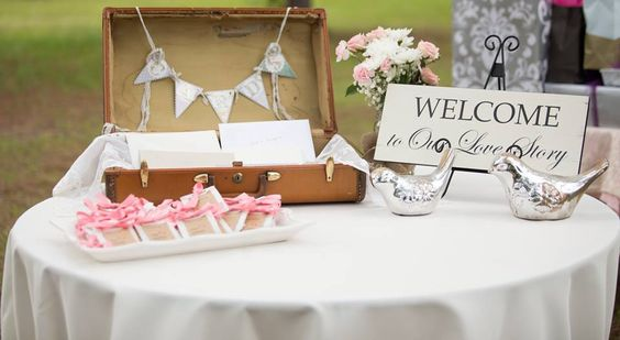 Vintage Inspired Wedding Card Box using Vintage luggage.  Wedding Rentals by Its Personal Wedding Staging and Design, Milton, FL