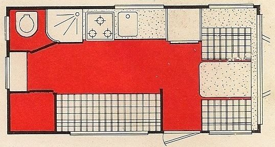 Aristocrat Vintage Trailers - LoLiner ST floorplan from the original brochure