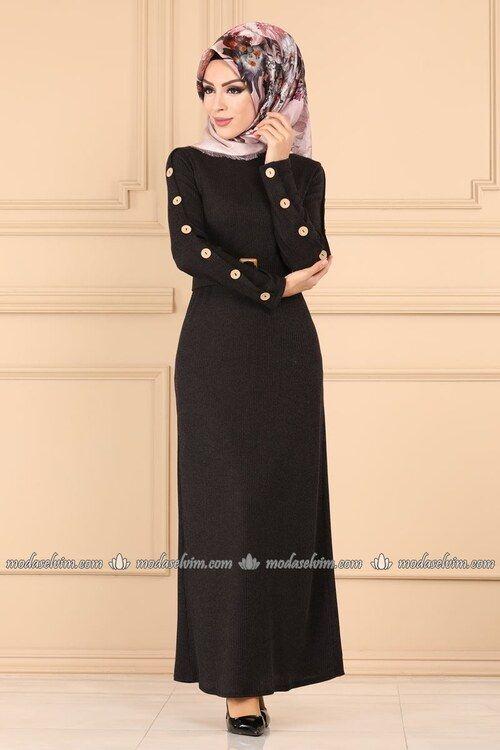 Modaselvim Elbise Dugmeli Triko Tesettur Elbise 5064ef311 Siyah Elbise The Dress Tarz Elbiseler