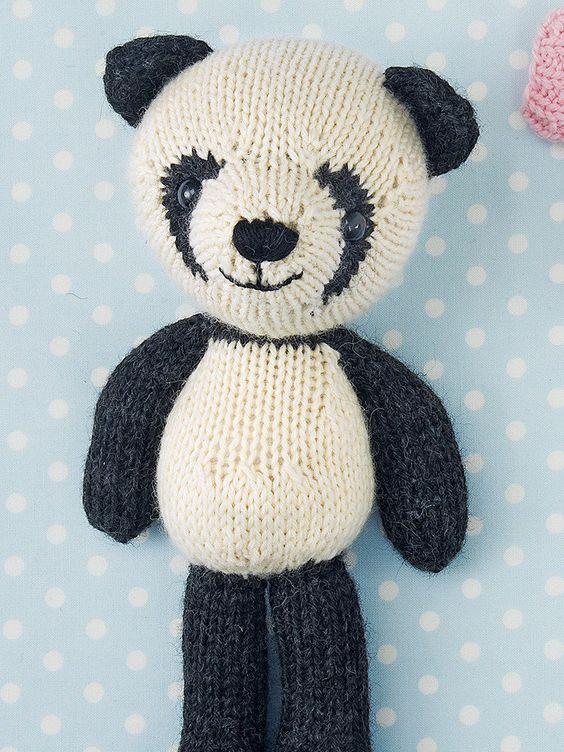 Free Knitting Patterns Panda Toy : Riley the Panda by Rachel Borello Toy Knitting Patterns Knitting Patterns...