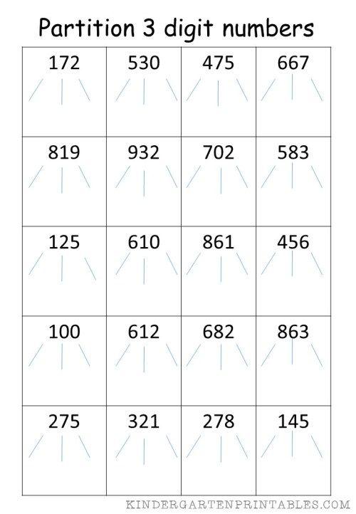 Partition 3 Digit Numbers Worksheet Free Printables Number Worksheets Worksheets Free Free Printable Worksheets