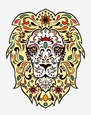 Animal lion Sugar Skull day of the dead sticker vinyl decal n37-4