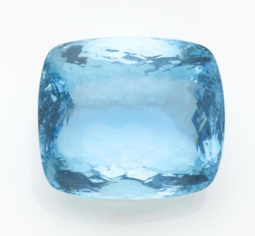 Very Large Checkerboard Aquamarine Sure to become a statement piece if mounted as a pendant, this attractive aquamarine, most likely from Brazil, displays a rich blue unenhanced color, made all the more beautiful by its checkerboard faceting and fine luster. Weighing approximately 243.0 carats and measuring 30.0 x 25.0 x 19.0mm