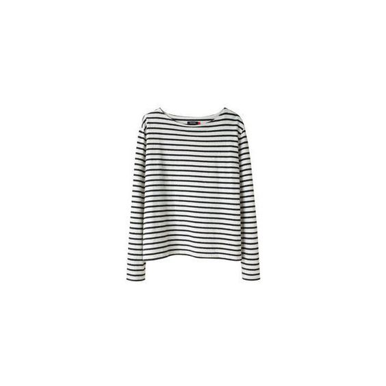Wood Wood Adrien Striped Tee. ($95) ❤ liked on Polyvore featuring tops, shirts, jumpers, sweaters, boat neck striped top, white shirt, striped shirt, long sleeve tops and striped top