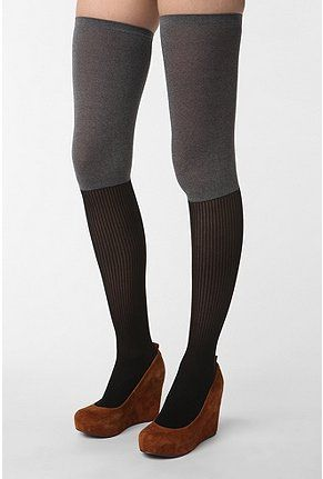 Two Tone Over the Knee Socks.