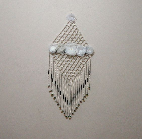 White pearls fringe beaded wall decor diamond beadwork by seragun wedding planner - Wall decoration with pearls ...