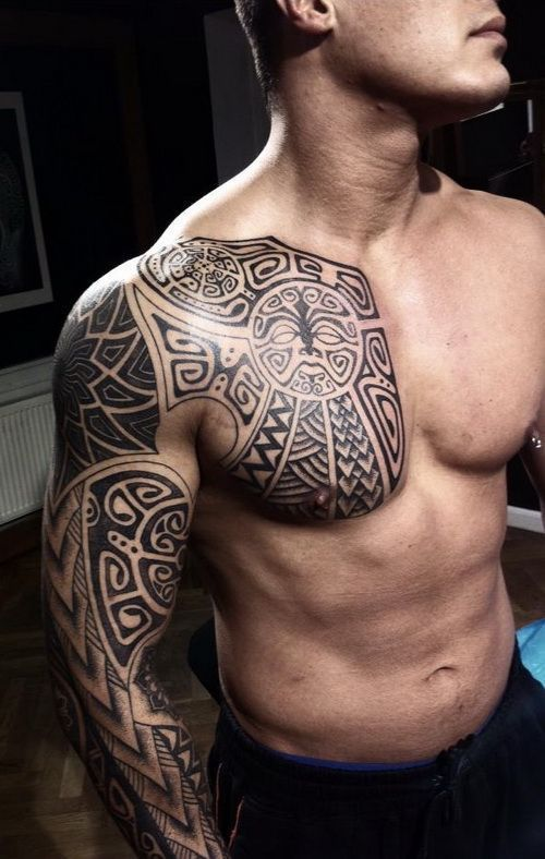 Half Chest And Full Arm Black And Gray Tribal Tattoo Design For Men Half Ches Half Chest In 2020 Tattoo Designs Men Mens Shoulder Tattoo Maori Tattoo Designs