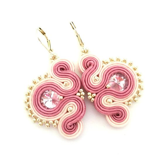 Soutache earrings  pink earrings  gift for by SaboDesign on Etsy