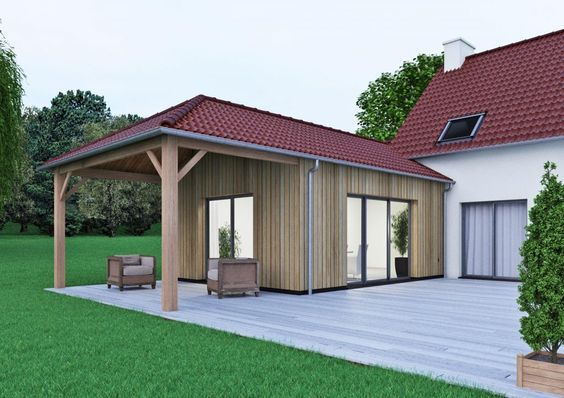 Extension De Maison En Ossature Bois Avec Une Terrasse Couverte By Cybel Extension Extension Maison Agrandissement Maison Extention Maison