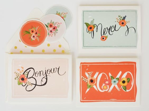 We appreciate the little things in life.  Having a box of special cards on hand for everyday moments, including just saying hello because you were thinking of a friend is one of those little things!This set of greeting note cards features gorgeous creamy colors of tangerine, mint and blush mixed with bright florals for a warm greeting to your recipients.Set of 8 note cards-asst phrasesXOXOMerciBonjoura perfect blend of greetings for your recipient.Note cards are ...