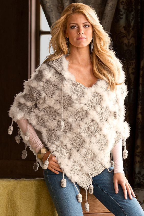 Boston Proper: Diamond Pattern Poncho. Crochet motif hooded poncho with Marabou feathers and chained pom poms.: