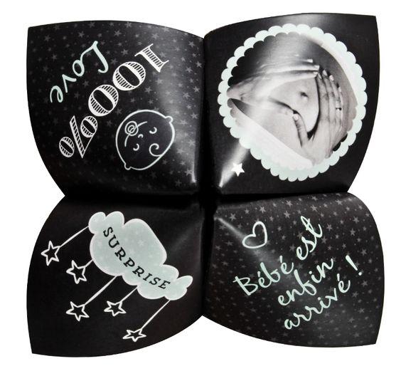 Faire part naissance origami cocotte pour réserver une belle surprise à vos proches avec l'arrivée de votre bout de chou, ref N33029