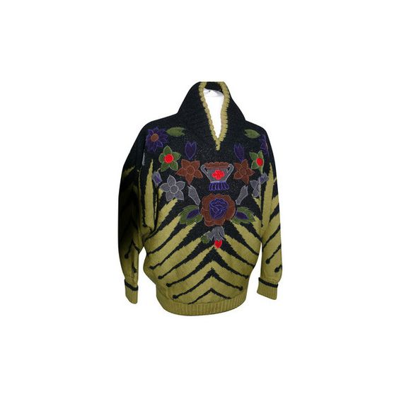 Pre-owned Kansai Yamamoto - Sweater ($380) ❤ liked on Polyvore featuring tops, sweaters, kimono top and kimono sweater