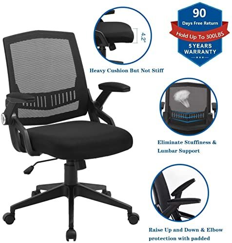 Enjoy Exclusive For Office Chairs Zlhecto Mid Back Computer Desk Chairs Ergonomic Back Swivel Task Chairs Thick Cushion Upgraded Huge Cushion Foam Hold In 2020 Computer Desk Chair Office Chair