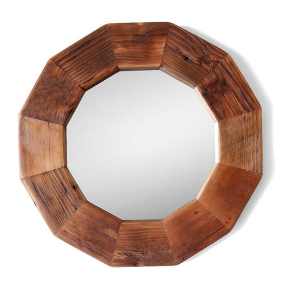 Reclaimed Wood Geometric Round Mirror by SilicateStudio on Etsy