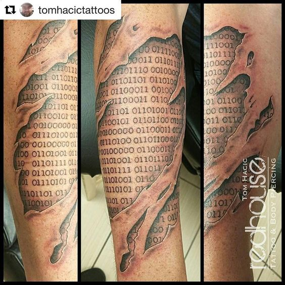 Skin tear and binary code tattoo by Tom Hacic at RedHouse Tattoo and Body Piercing Studio in Buffalo NY.