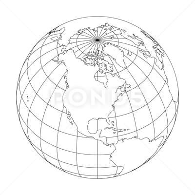 Outline Earth Globe With Map Of World Focused On North America Vector Stock Illustration Ad Map World Globe Outli Globe Drawing Globe Outline Globe Tattoos