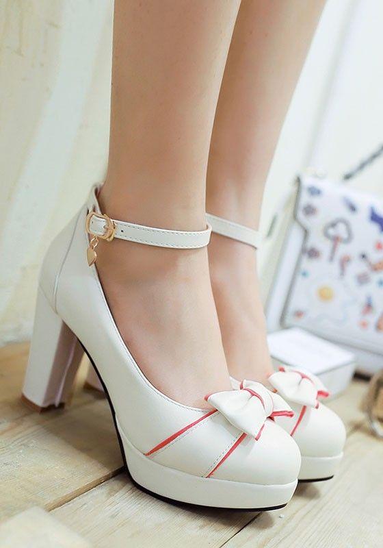 White Round Toe Chunky Bow Cute High