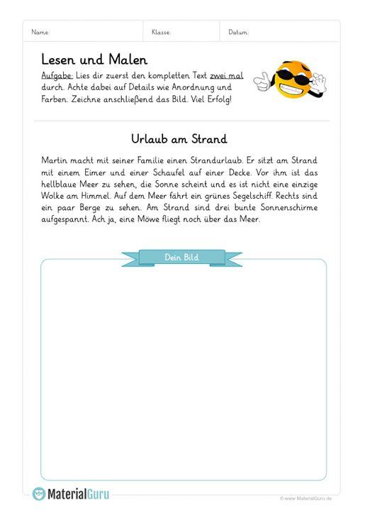 Arbeitsblatt Lesen Und Malen Langer Text 02 Genaues