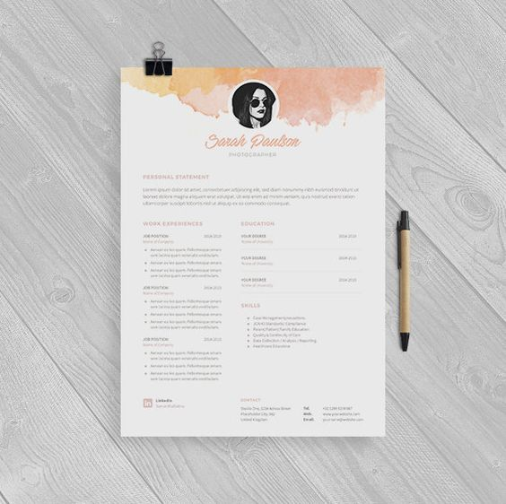 creative resume template instant download   cover letter