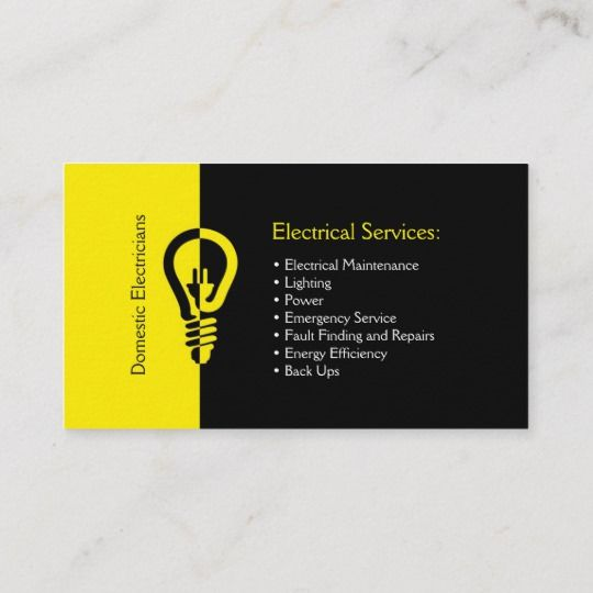 Domestic Electricians Business Card Zazzle.com (With Images