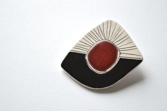 Geometrische Keramik Brosche handgemachte von islaclay auf Etsy