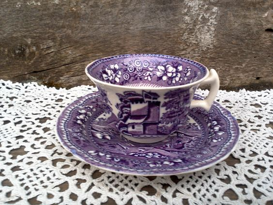 """Antique Purple Transferware TEA CUP and SAUCER, W. R. Midwinter Burslem England, """"Old Castle"""", Ironstone, English Transferware. Serving by CottonCreekCottage on Etsy"""