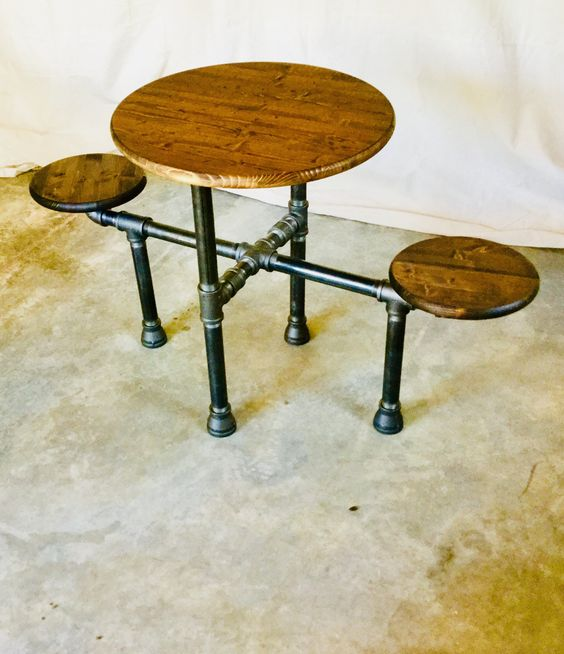 "Industrial Design Table ""DIY"" Parts Kit, 1-1/4"" Black Pipe- Optional table top/seats, FREE SHIPPING!!"