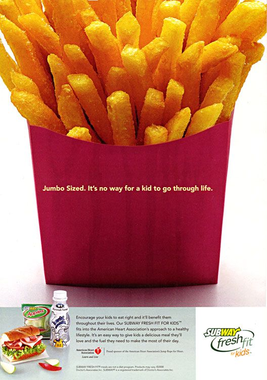 Note to Subway: If your ad makes me want McDonald's fries you're doing it wrong. #justsaying