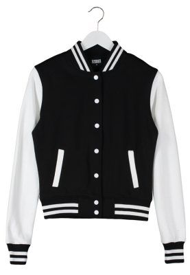 Urban Classics baseball jacket black with white sleeves | Hair and
