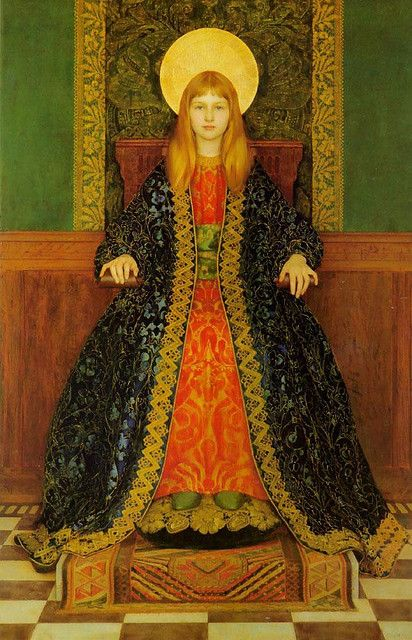The Child Enthroned, Thomas Cooper Gotch,1894. The portrait is of the artist's daughter, Phyllis.: