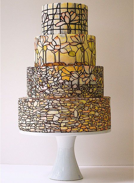 Fantastic stained glass wedding cake. Wow!