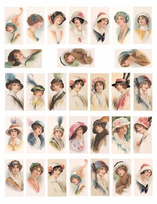 Vintage Ladies flapper girls hats 1920s 1930s fashion clip art collage sheet 1x 2 INCH dominos