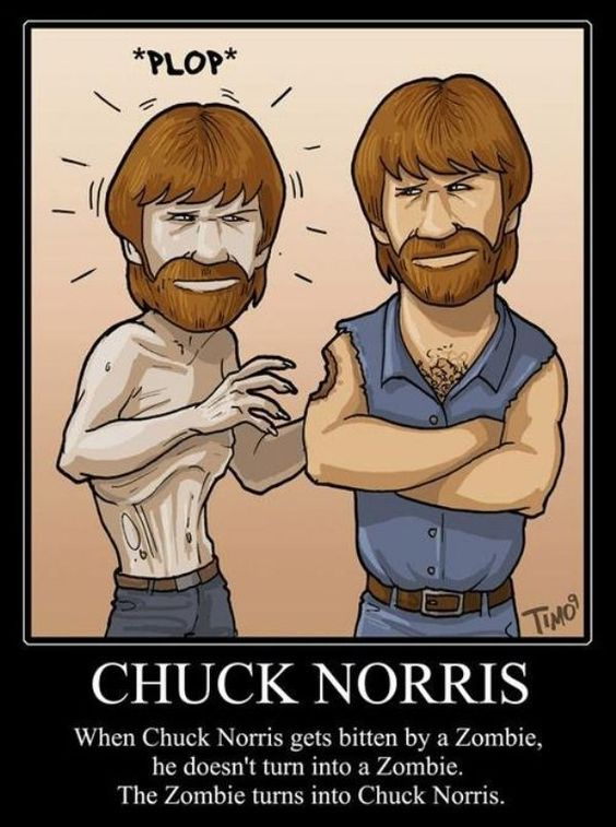 If you are bit by a zombie, the only cure is Chuck Norris's tears. Too bad he's never cried.