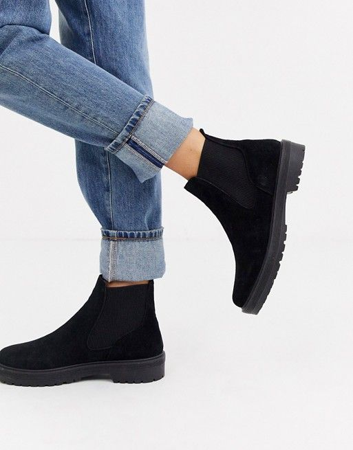 Black suede flats, Chelsea ankle boots