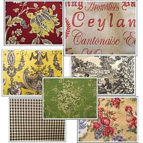 French style red green country color scheme and fabrics - Country blue color scheme ...