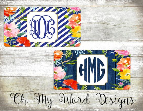Monogram Car Tag-Personalized License by OhMyWordDesigns on Etsy