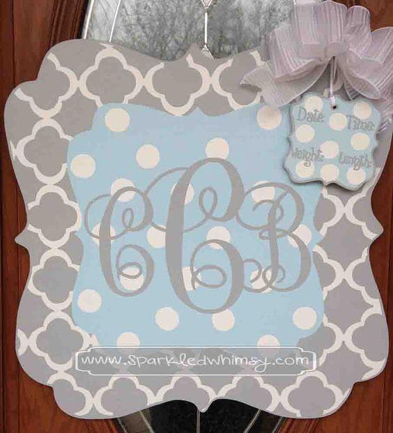Monogrammed quatrefoil baby sign for hospital baby girl for Baby shower door decoration