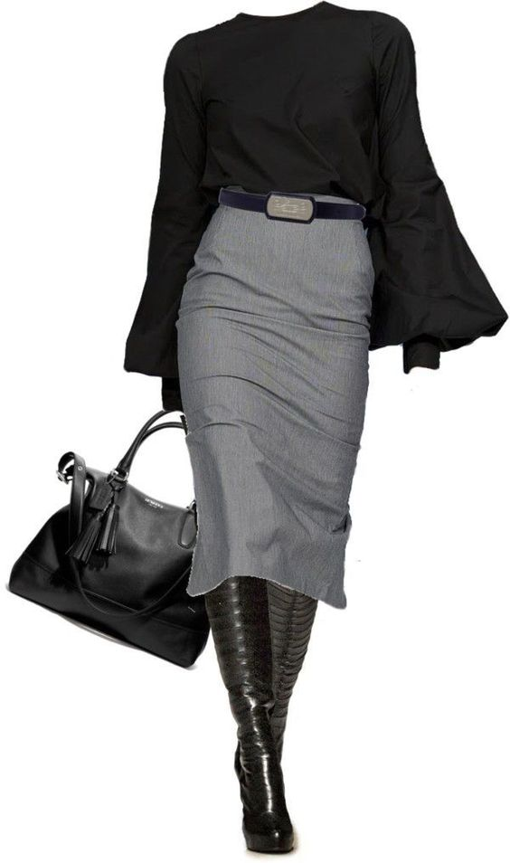 Office fashion work outfit... Very cute. I need the blouse and boot.  Where is t...
