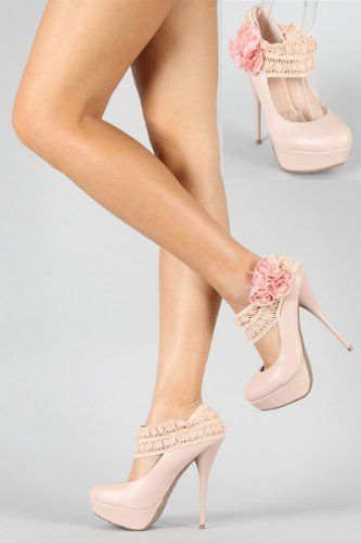 Shoehorne Lorane95 - Womens Blush Nude Elasticated Crochet Mary