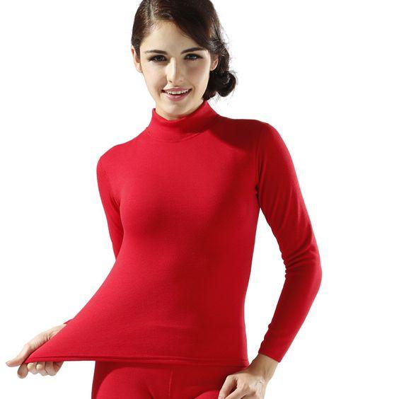 Plus Size M-XXL Women winter thermal underwear suit thick velvet ...
