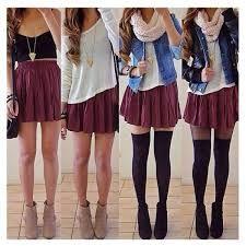 Thigh high socks and skirt