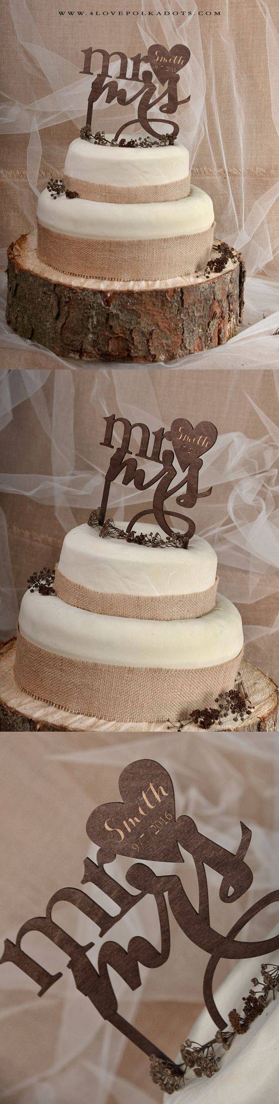 Mr & Mrs Wooden Wedding Cake Topper #realwood #rustic #country
